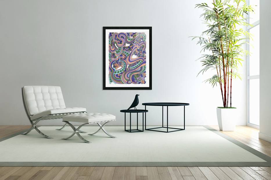 Wandering Abstract Line Art 45: Purple in Custom Picture Frame