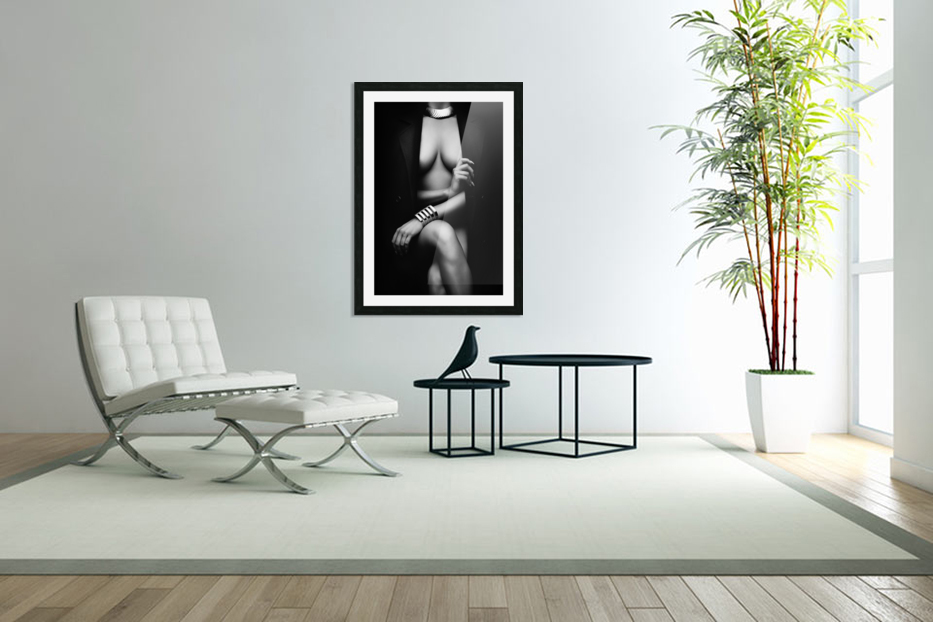 Nude Woman with jacket 1 in Custom Picture Frame