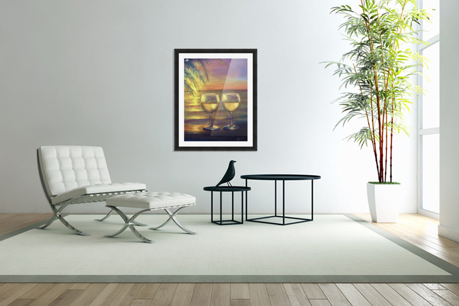 2  White Wines in Custom Picture Frame