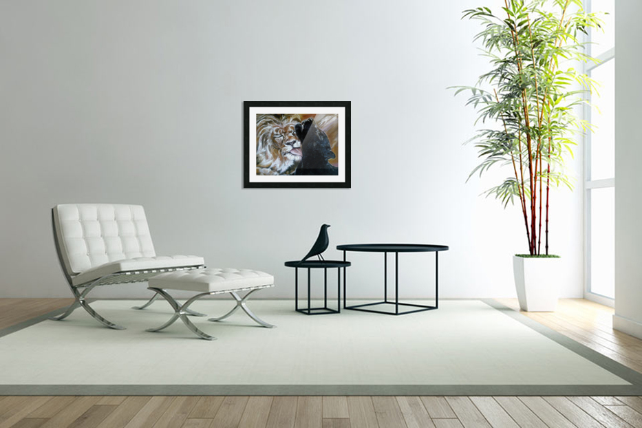 The Lion and the Panther in Custom Picture Frame