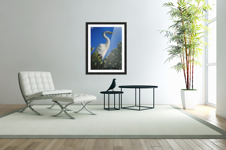 White Heron 1 in Custom Picture Frame