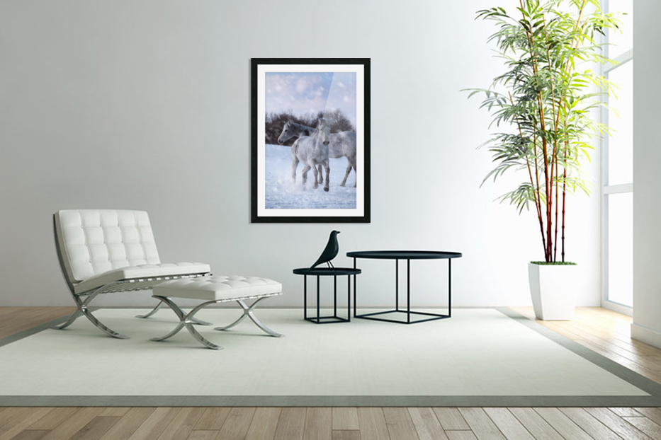 Horses in the Snow in Custom Picture Frame