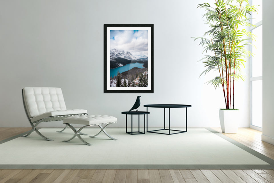 Wintry Peyto Lake in Custom Picture Frame
