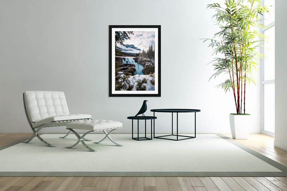 Wintry Waterfall in Custom Picture Frame