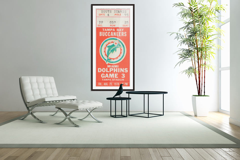 1978 Miami Dolphins Football Ticket Stub Art in Custom Picture Frame