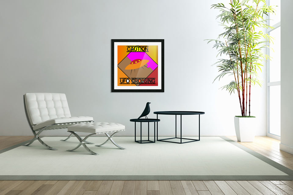 UFO CROSSING  - CAUTION in Custom Picture Frame