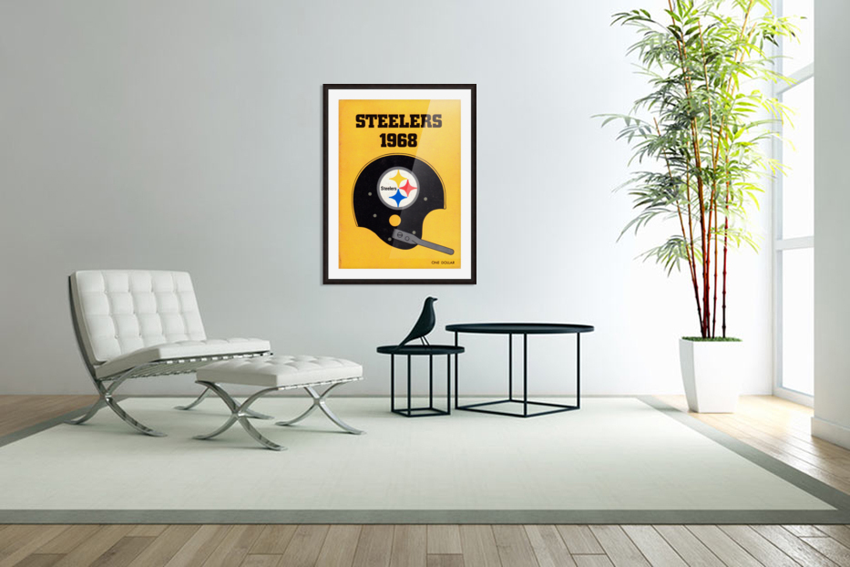 1968_National Football League_Pittsburgh Steelers_Media Guide_Row One Brand Vintage Media Guide Art in Custom Picture Frame