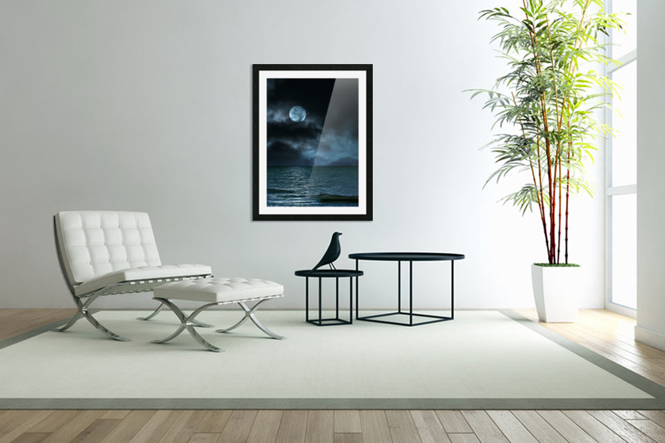Cloudy Moon Shore at Night in Custom Picture Frame