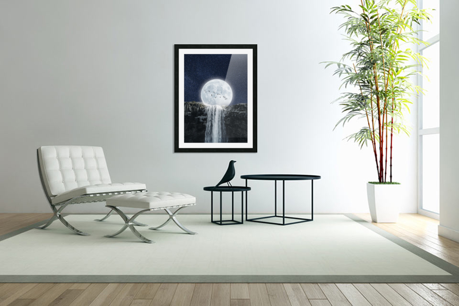 Moon Waterfall Fantasy in Custom Picture Frame