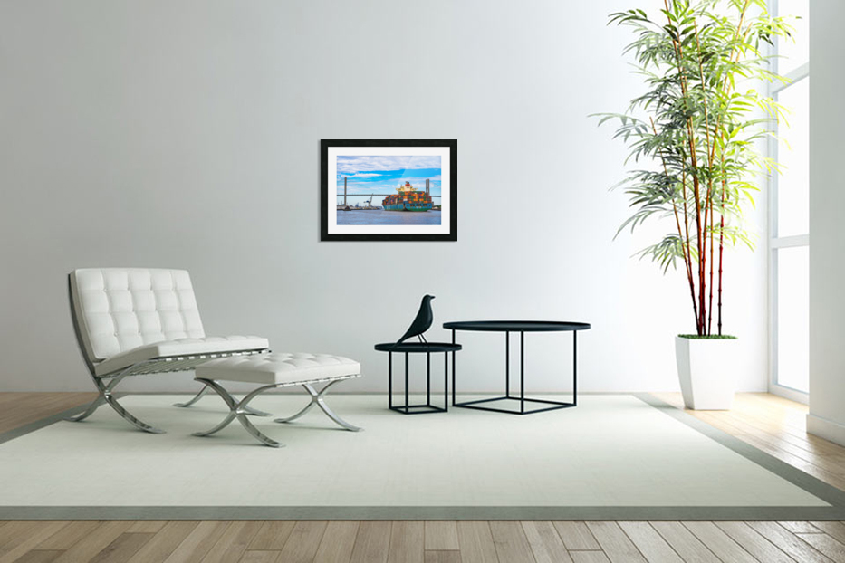 Cargo Ship on the Savannah River 04044 in Custom Picture Frame
