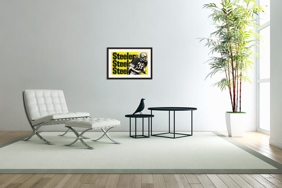 Vintage Pittsburgh Steelers Football Art Reproduction in Custom Picture Frame