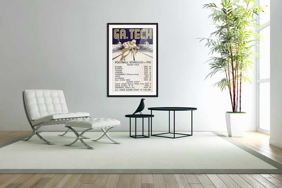 Vintage Football Schedules_College Football Schedule_1952 Georgia Tech Yellow Jackets_Schedule Art in Custom Picture Frame