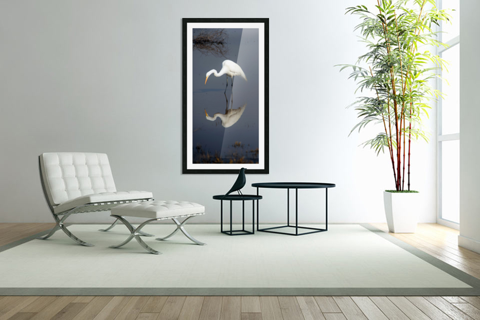 Who Are You White Egret in Custom Picture Frame