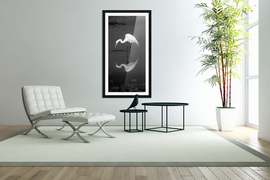 Who Are You White Egret BW in Custom Picture Frame