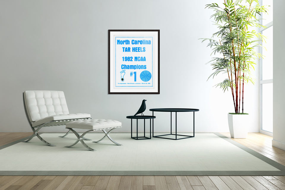 1982 North Carolina Tar Heels NCAA Champions Poster Reproduction Art in Custom Picture Frame