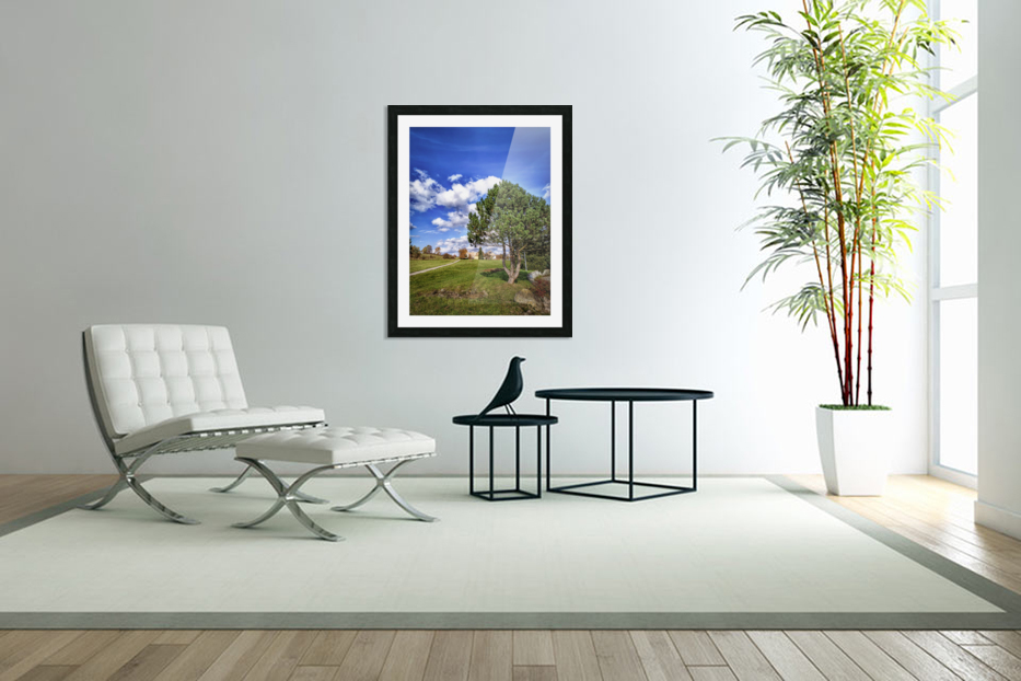 Tree and blue sky with clouds in Custom Picture Frame