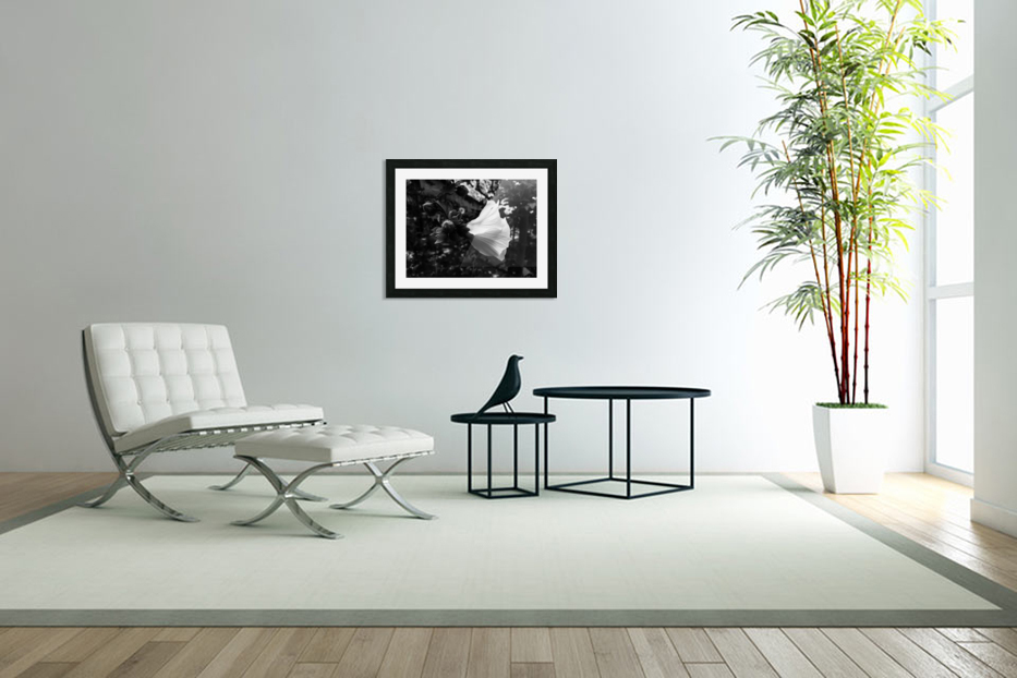 Blooming flower in black and white in Custom Picture Frame