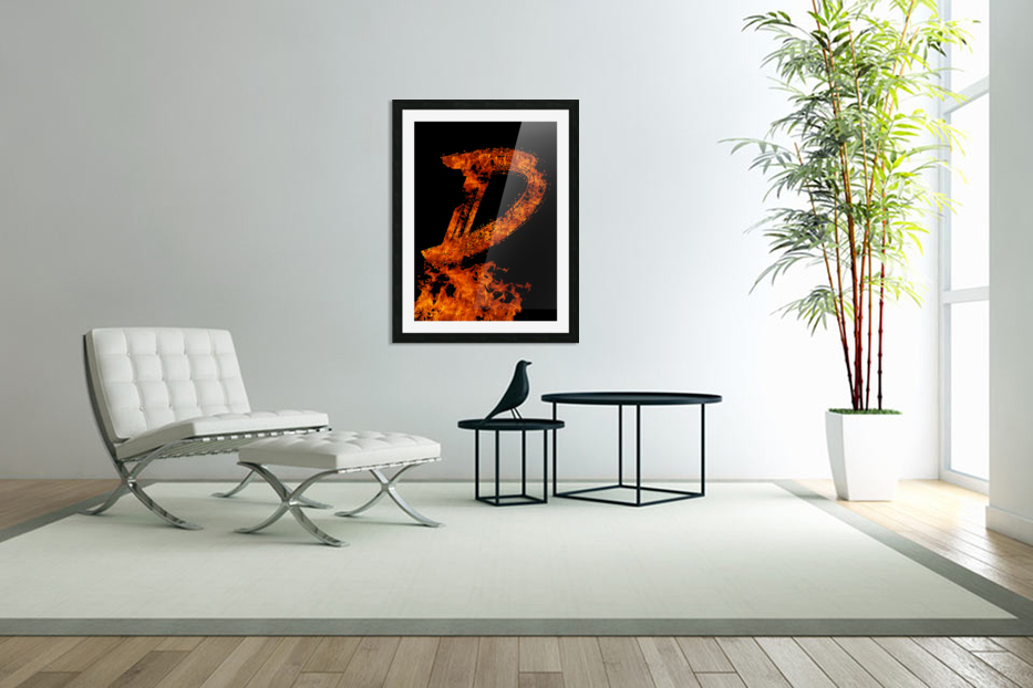 Burning on Fire Letter D in Custom Picture Frame