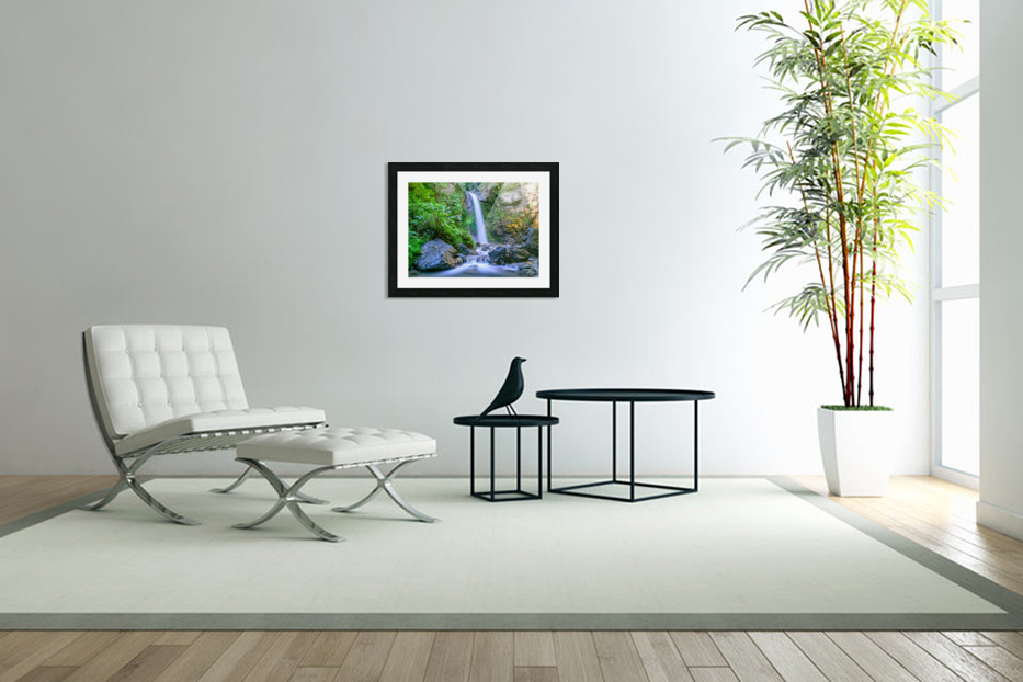 Waterfall in the forest in Custom Picture Frame