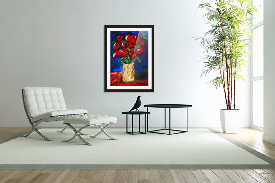 Red Cala Lilies in Custom Picture Frame