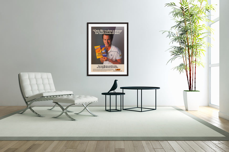 row one vintage sports ads retro bic shaver john mcenroe tennis poster in Custom Picture Frame
