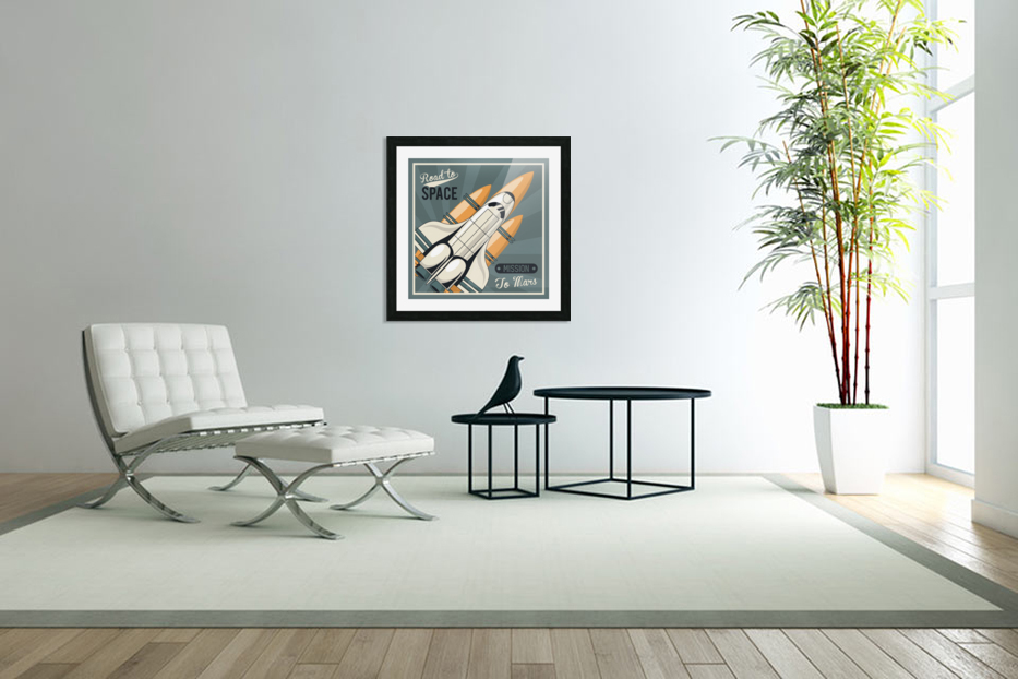 Life space poster with mars rocket rockets vintage in Custom Picture Frame