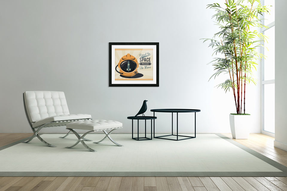 Life space vintage poster with set scenes in Custom Picture Frame