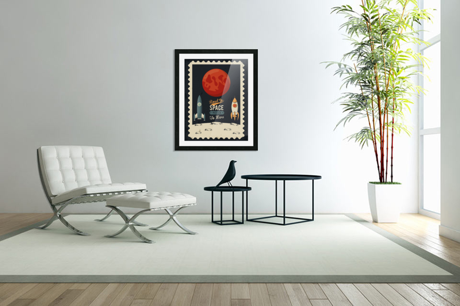 Life space poster with mars rocket rockets in Custom Picture Frame