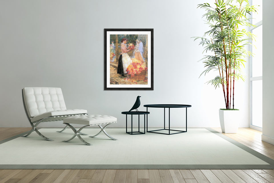 Woman sells flowers by Hassam in Custom Picture Frame