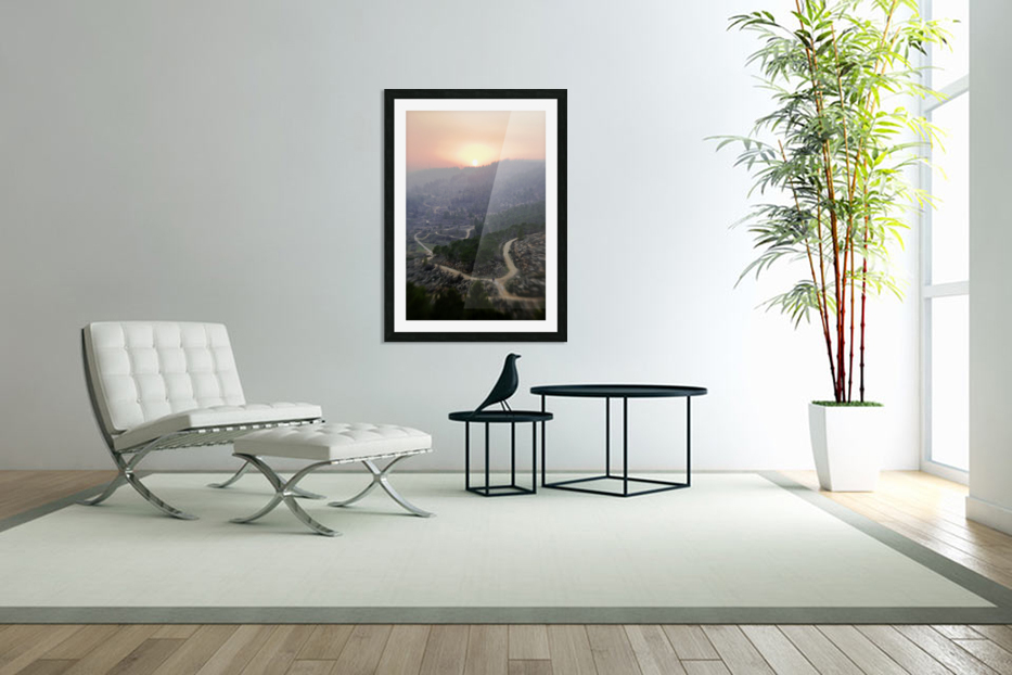 Hills at sunset in Custom Picture Frame