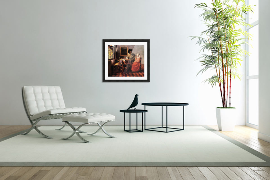 Glass of wine by Vermeer in Custom Picture Frame