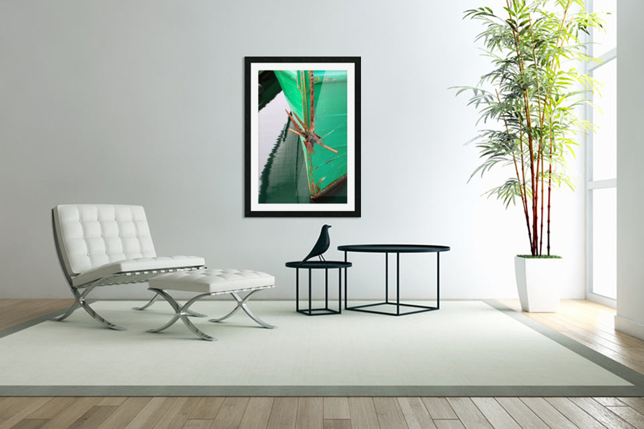 Green Fishing Boat and Anchor In Harbour in Custom Picture Frame