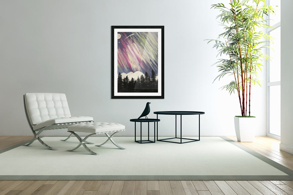 Aurora Borealis Above The Forest in Custom Picture Frame