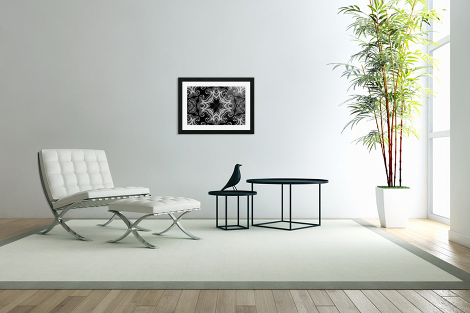 Classic Fractal in black and white in Custom Picture Frame