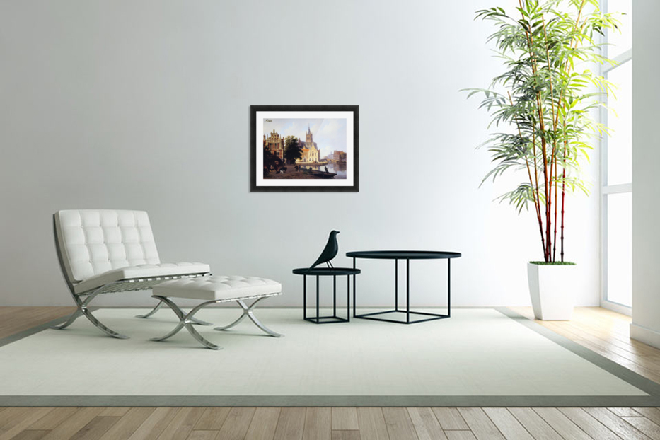 City view with canal Sun in Custom Picture Frame