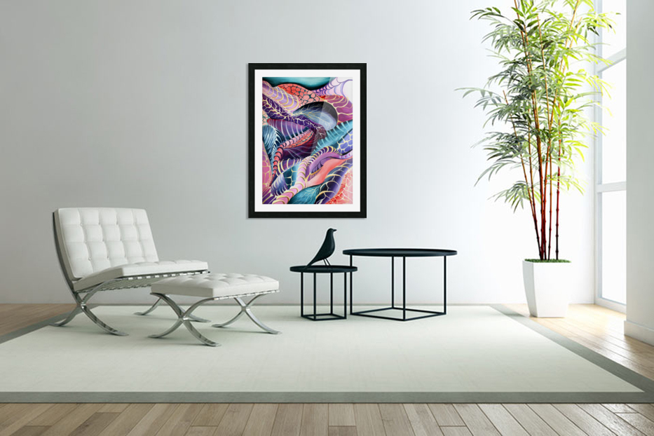 Artdeco Abstract Linear Interlacing Pattern in Custom Picture Frame