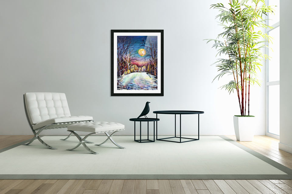 Winter Full Moon Night Landscape Watercolor in Custom Picture Frame