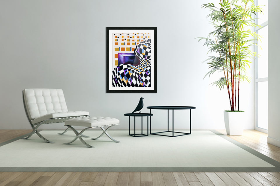 Retro Minimalism Abstract Chess Pattern in Custom Picture Frame