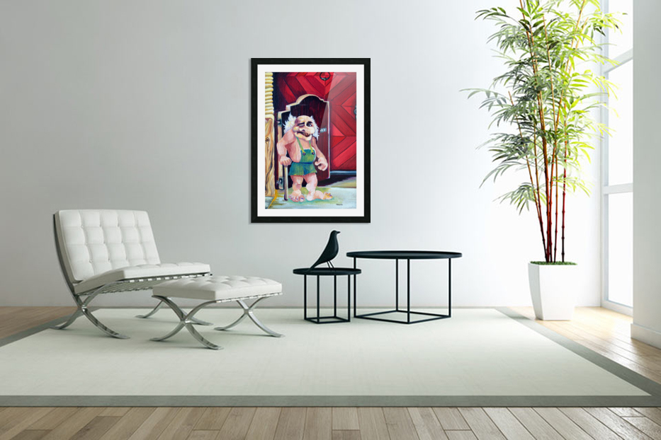 Scandinavian Folklore Troll Artwork  in Custom Picture Frame