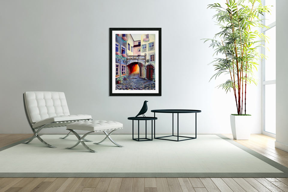 Brussels Cityscape Bohemian Painting in Custom Picture Frame