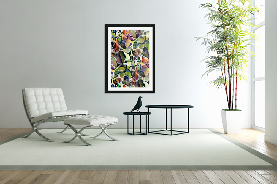 Linear Interlacing Expressionism Abstract in Custom Picture Frame