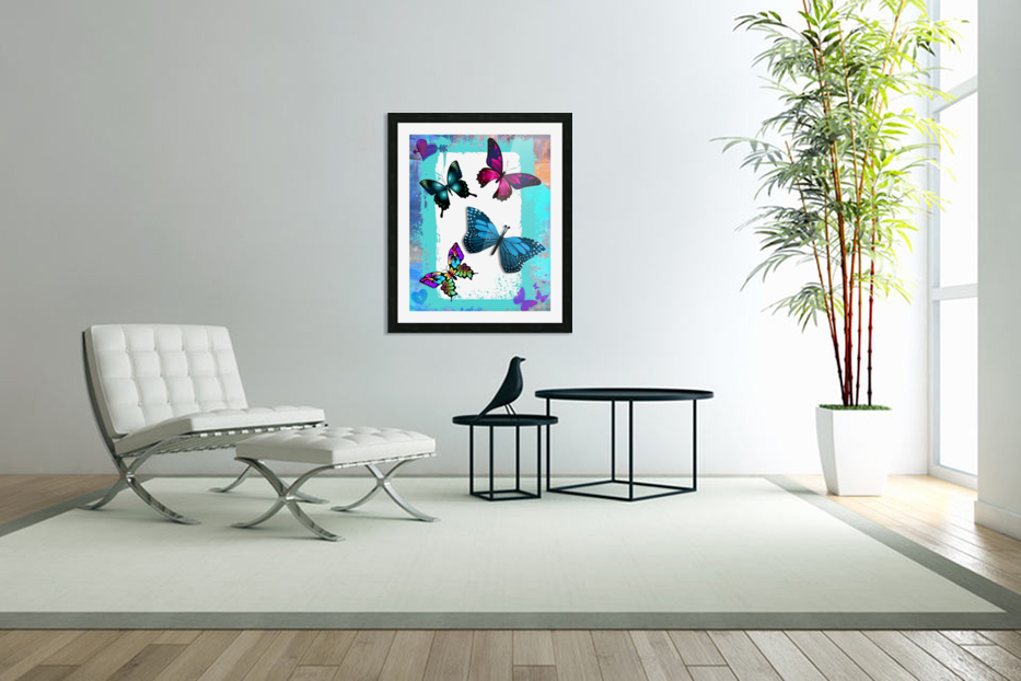 Whimsical Morpho Butterflies in Vivid Colors in Custom Picture Frame