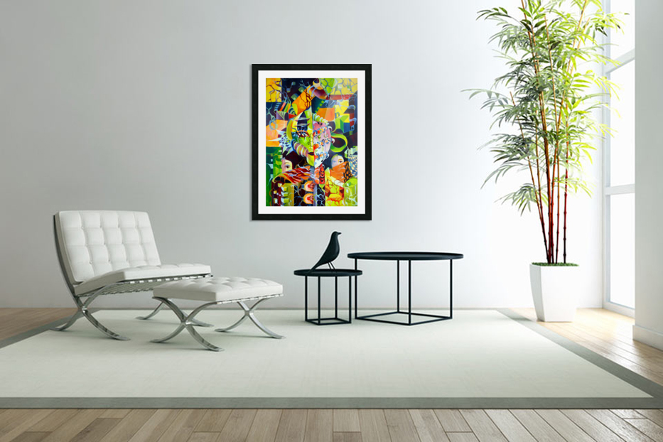 Pop Currealism Contemporary Vivid Utopia in Custom Picture Frame