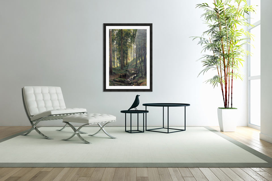 Stream by a forest slope in Custom Picture Frame