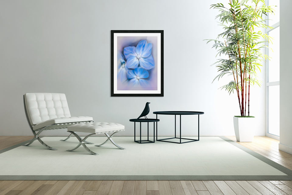 Blue Hydrangea Blossoms in Custom Picture Frame