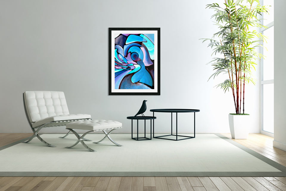 Twisted Splash of Blue Shapes  in Custom Picture Frame