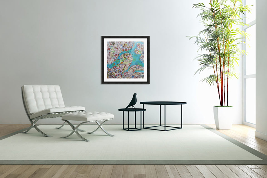 imaginary map of Boston in Custom Picture Frame