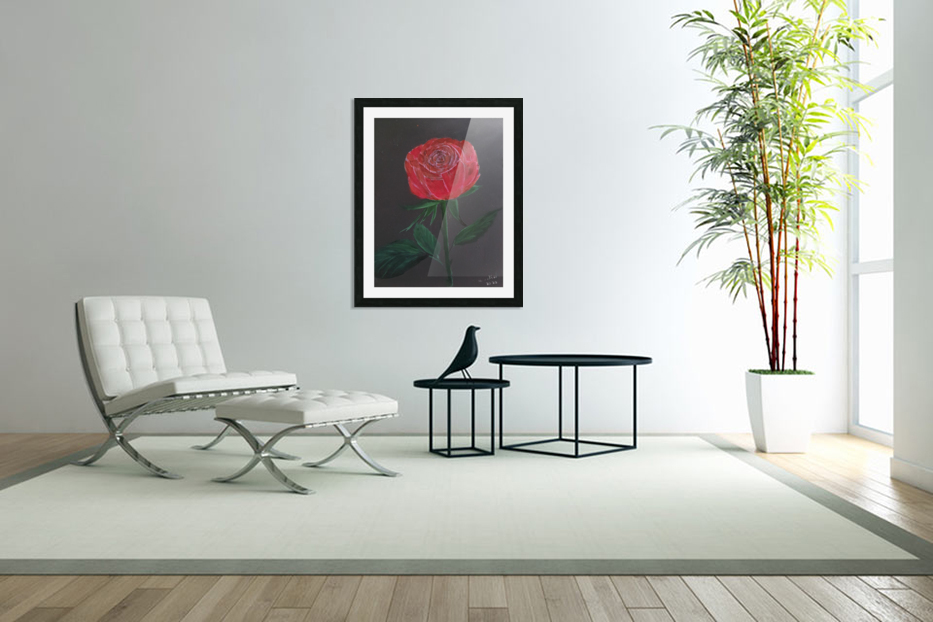 Single red rose in Custom Picture Frame