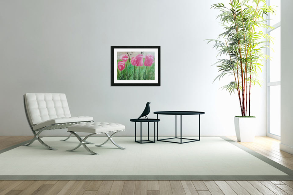 Red Tulips in Custom Picture Frame
