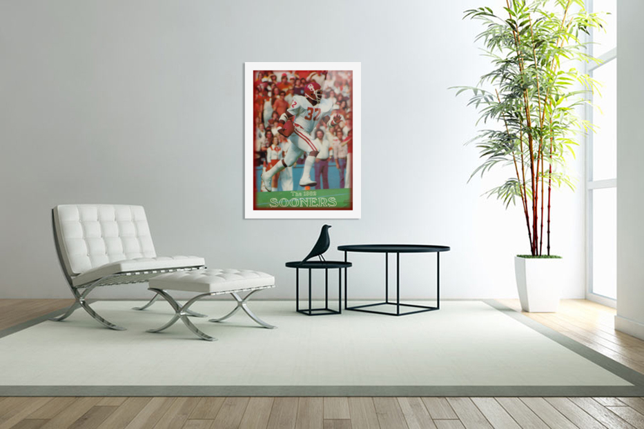 1982 oklahoma sooners retro college football poster in Custom Picture Frame